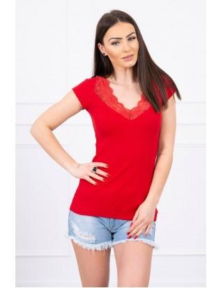 Tričko s čipkou červené