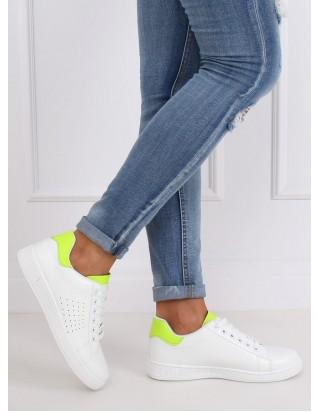 Dámske tenisky biele + zelená neon