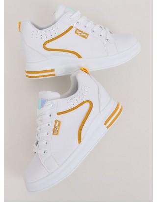 Bielo žlté tenisky na klinovom podpätku