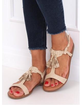 Sandále so strapcami béžové