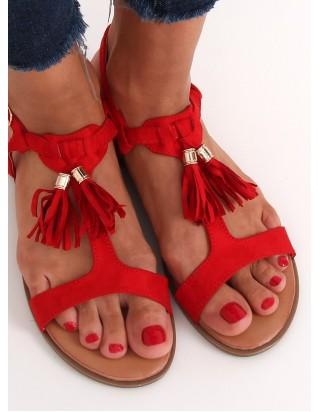 Sandále so strapcami červené