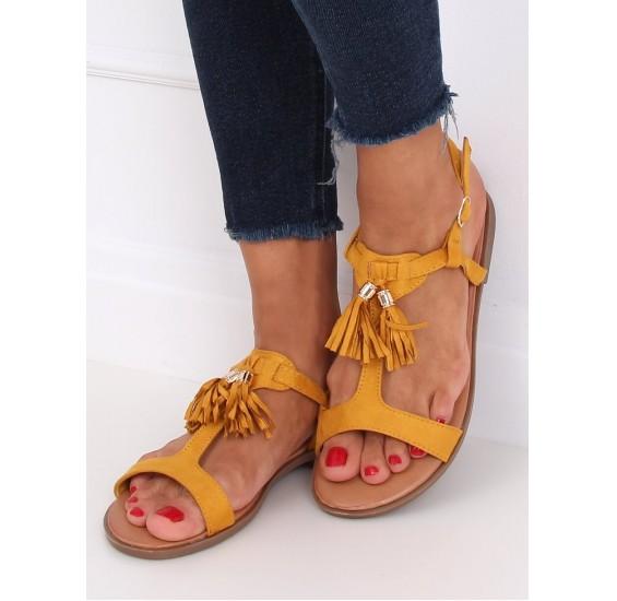 Sandále so strapcami horčicové