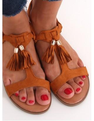 Sandále so strapcami hnedé