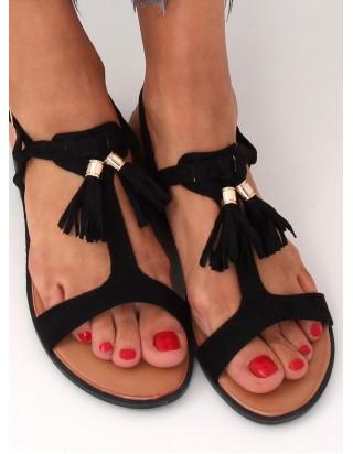 Sandále so strapcami čierne