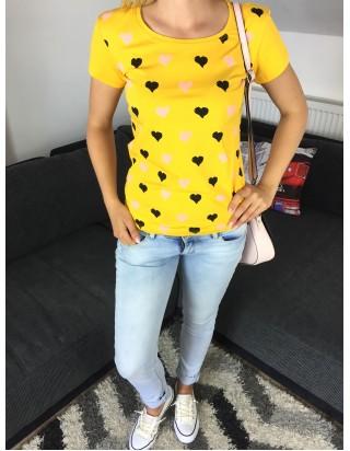 Letné tričko srdiečko žlté