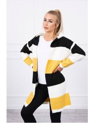 Pásikavý sveter horčica + čierna