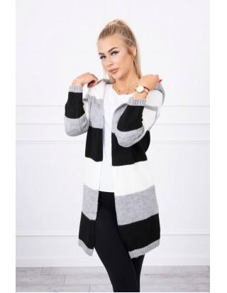 Pásikavý sveter šedá + čierna