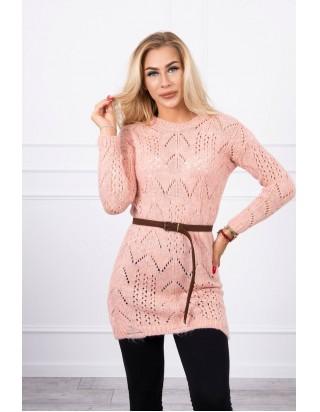 Ružový sveter s opaskom
