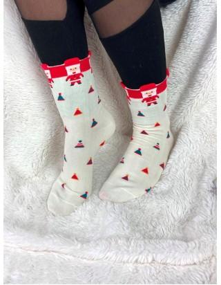 Skvelé vianočné ponožky biele