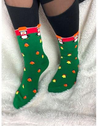 Skvelé vianočné ponožky zelené