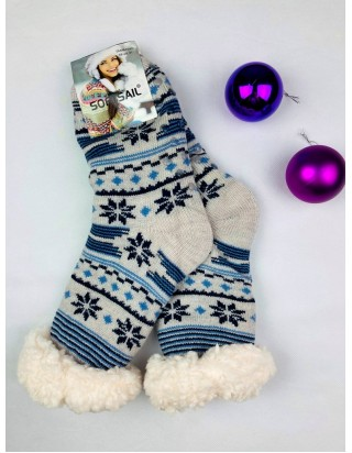 Vianočné ponožky hrubé modrošedé