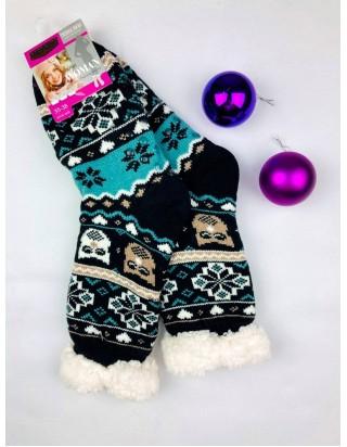 Vianočné ponožky hrubé Sovička