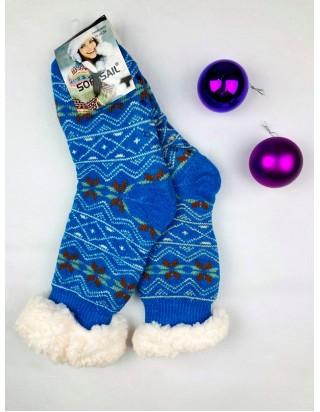 Vianočné ponožky hrubé protišmykové
