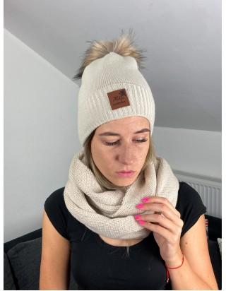 Skvelý komplet béžový šál a čiapka