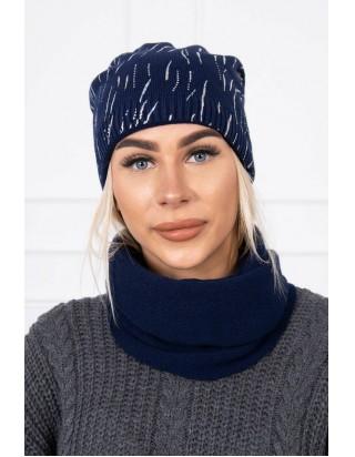 Tmavomodrá prechodná čiapka so šálom