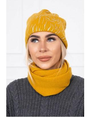 Horčicová prechodná čiapka so šálom
