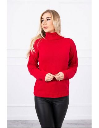 Červený sveter s golierom