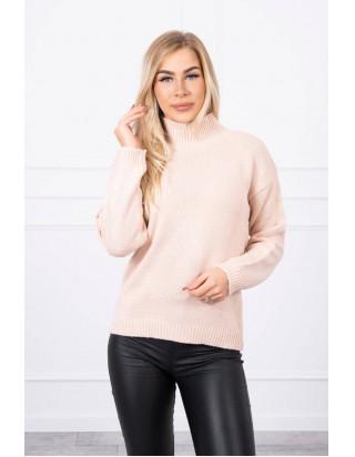 Bledoružový sveter s golierom