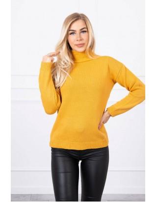 Horčicový sveter s golierom