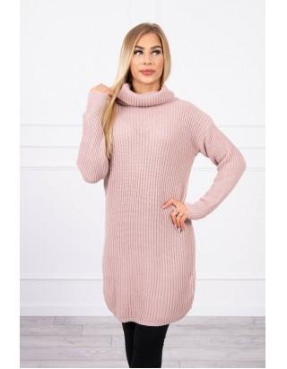 Dlhý sveter s golierom bledoružový