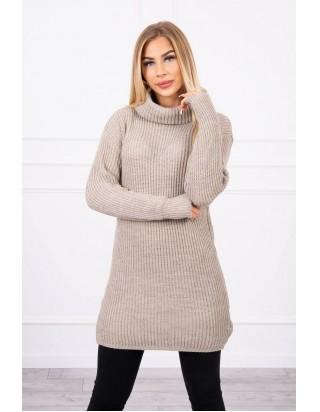 Dlhý sveter s golierom béžový