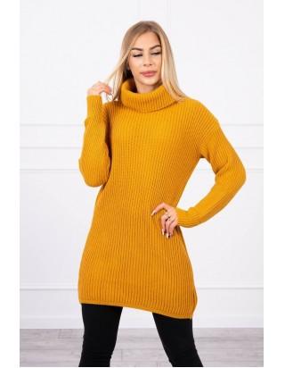 Dlhý sveter s golierom horčicový