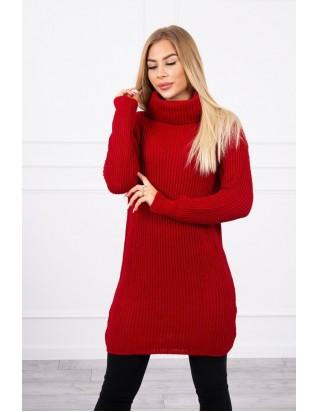 Dlhý sveter s golierom červený