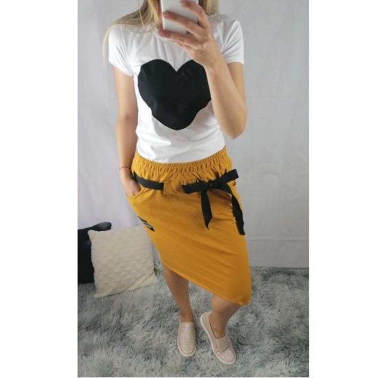 Horčicová sukňa s mašľou