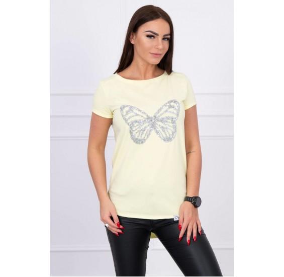 Krátke letné dámske tričko žlté