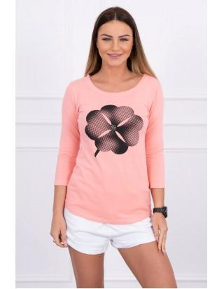 Dámske ružové tričko s kvetom