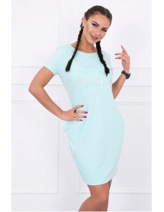3eba8a21d6 Dámske mentolové šaty s nápisom