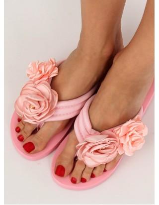 Dámske ružové šľapky s kvetom