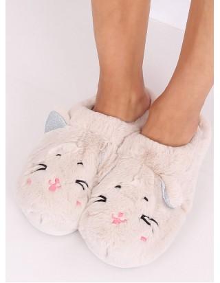 Dámske krémové papučky Mačka