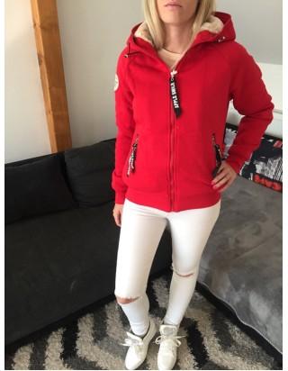 Zateplená hrubá mikina červená