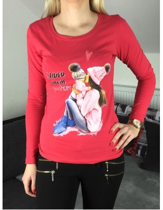 dámske červené tričko Mama