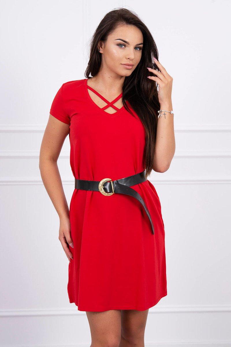 2639be5d7f Timmyoblečko - Červené šaty s opaskom