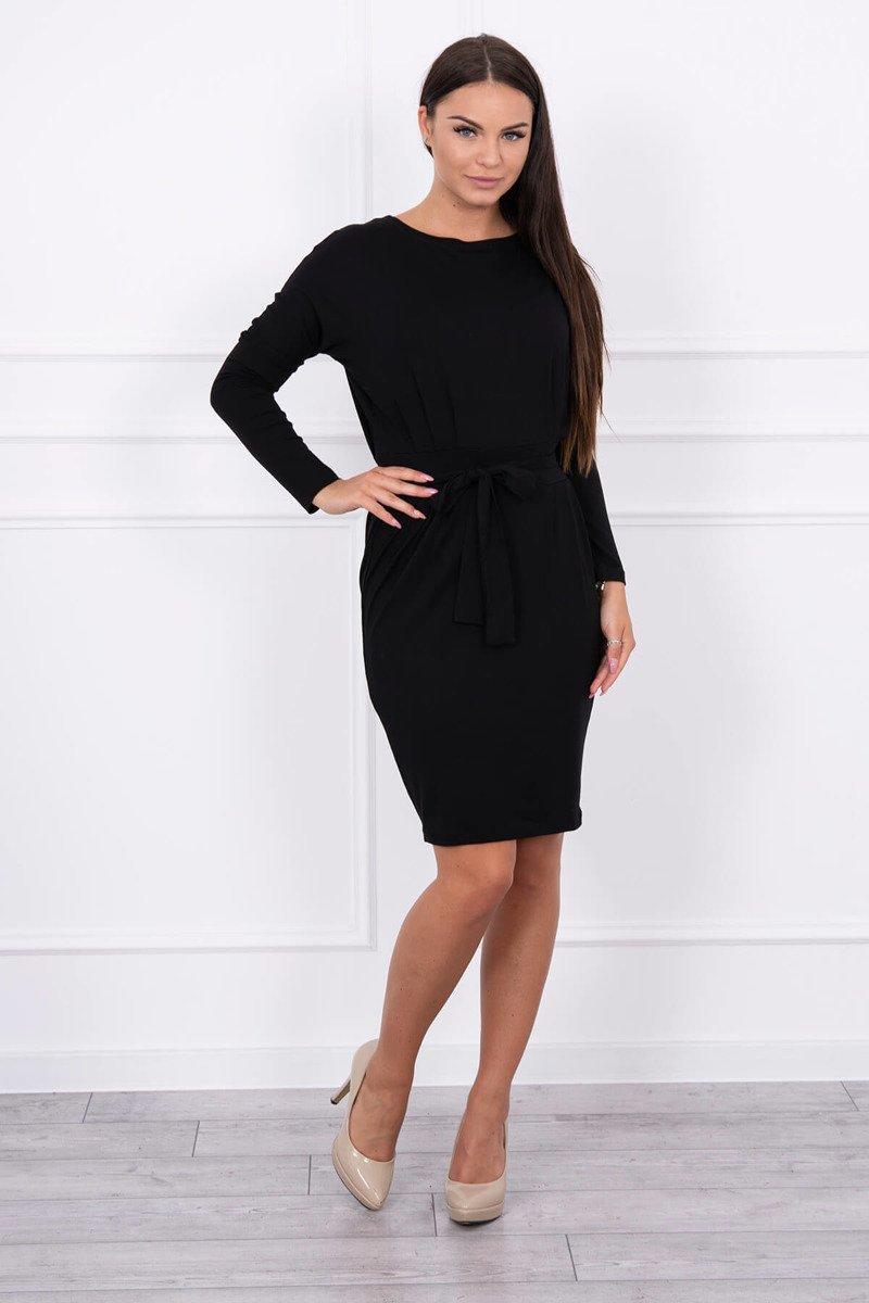 8d8eb8354 Timmyoblečko - Čierne šaty na viazanie v páse