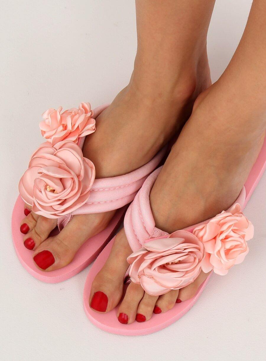 6bf85bb2c9fef Timmyoblečko - Dámske ružové šľapky s kvetom